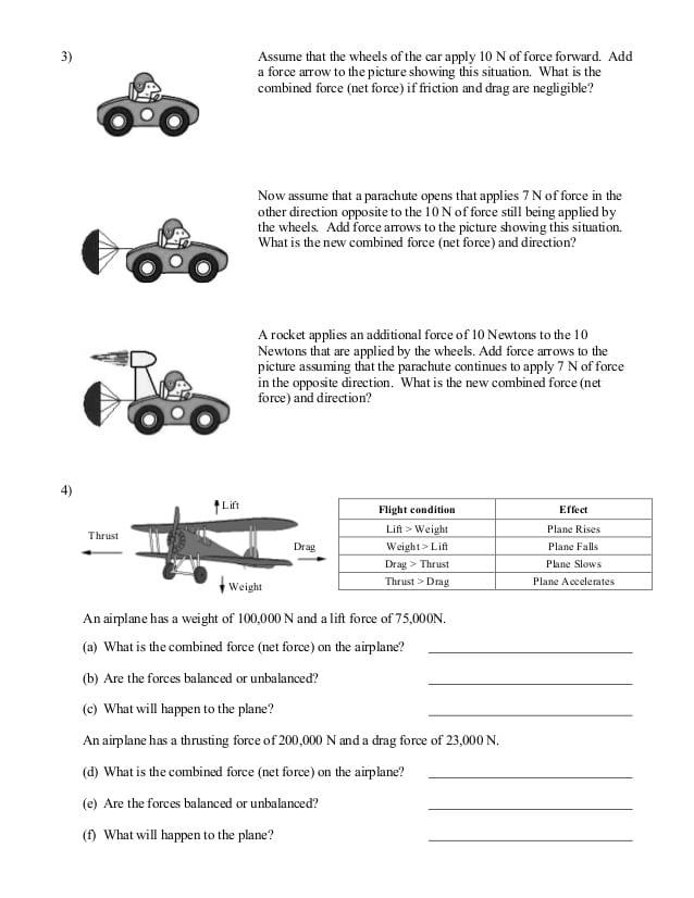 Balanced Forces Worksheet 1295483