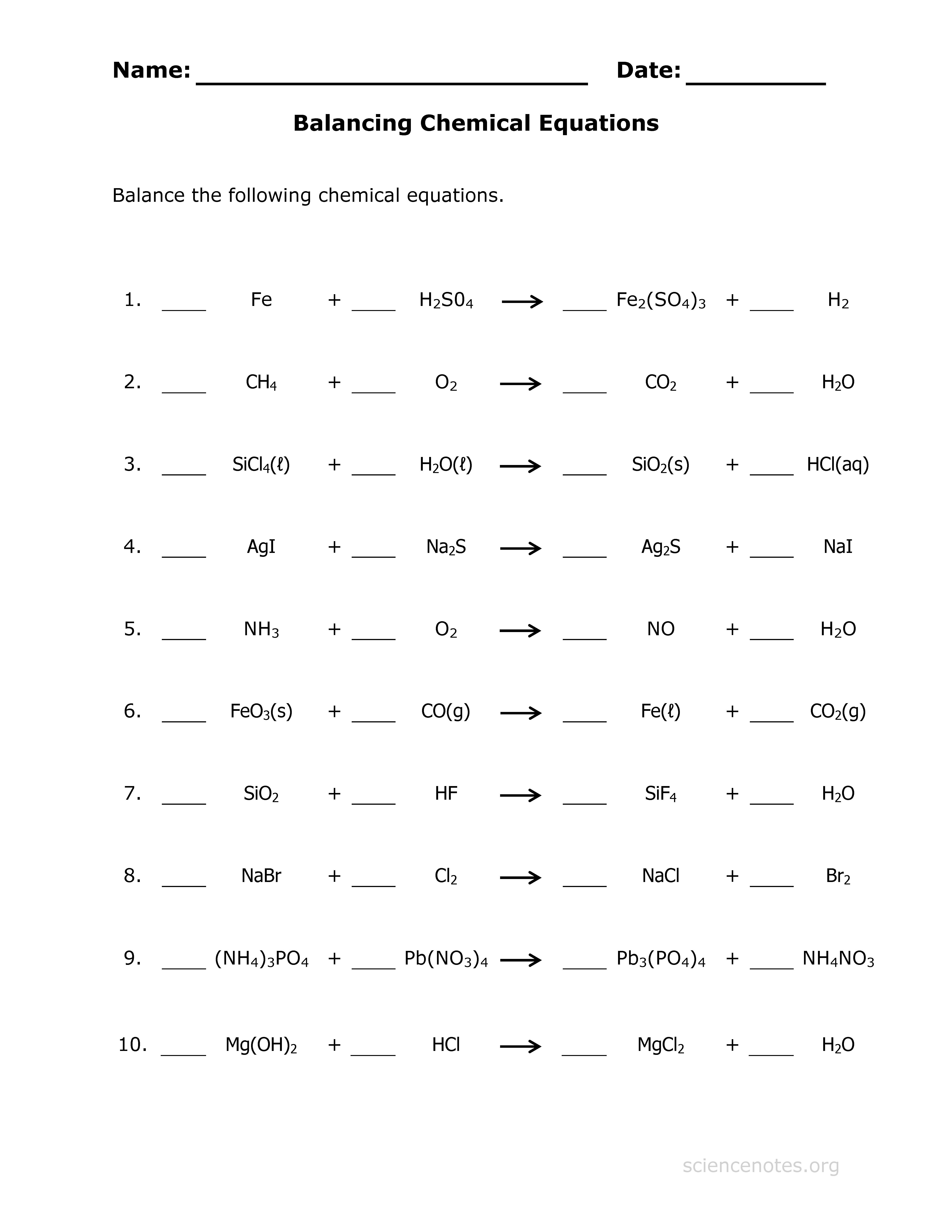 Balancing Math Equations Worksheet Beautiful Balancing Chemical