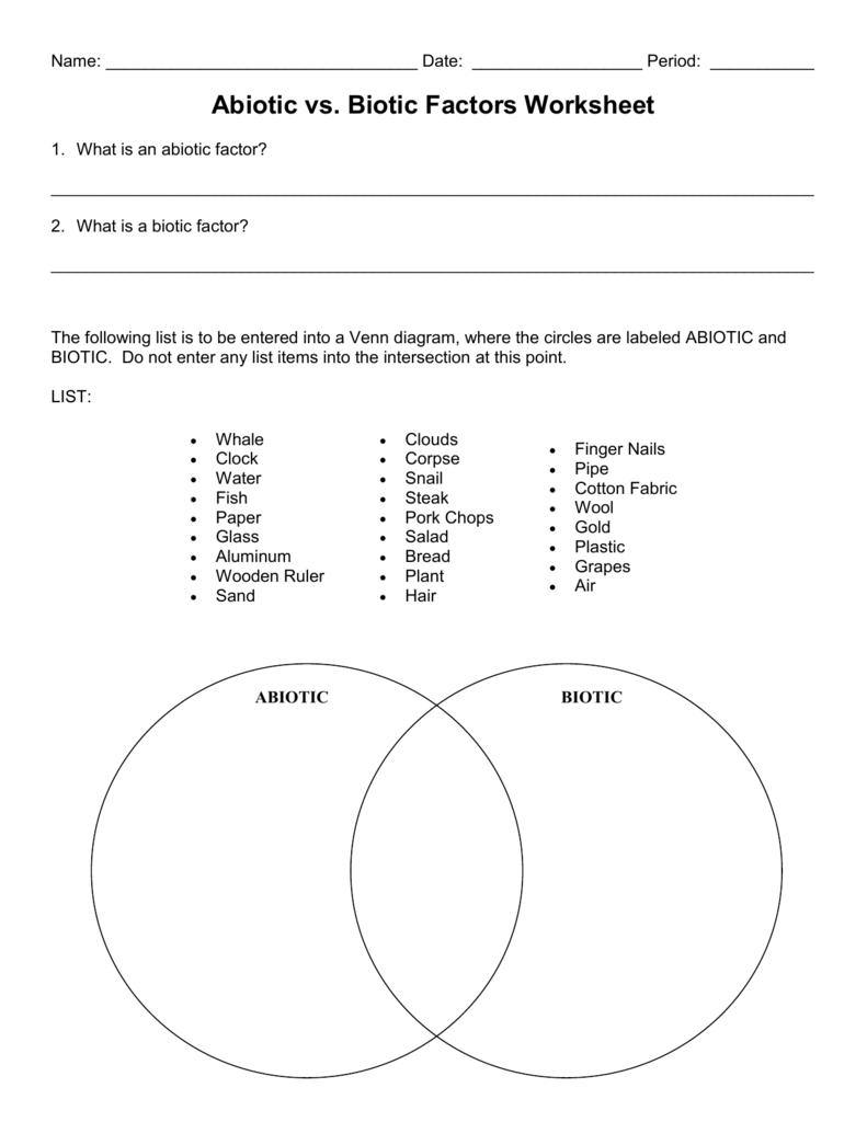 Biotic And Abiotic Factors Worksheets