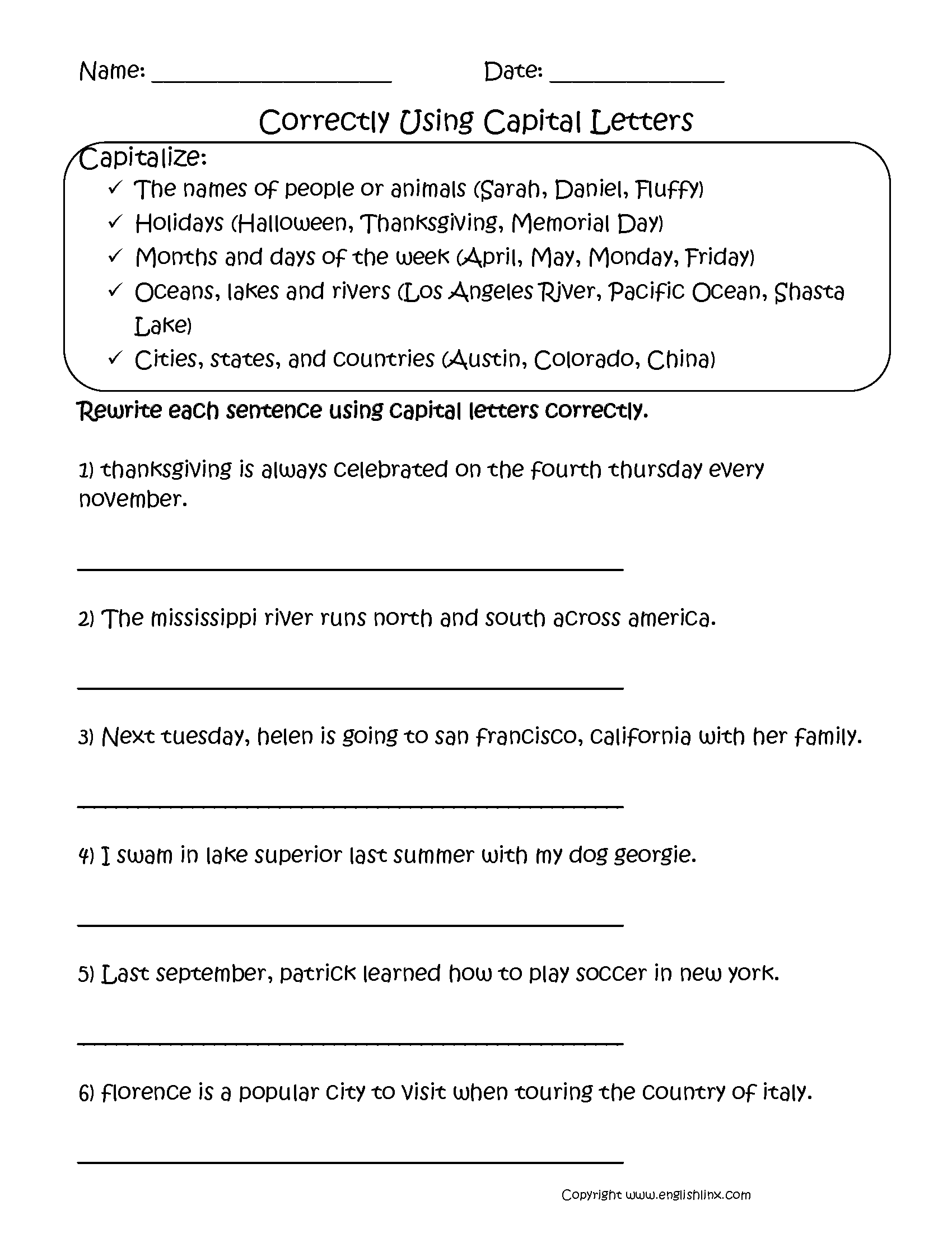 Capitalization Worksheets 2nd Grade The Best Worksheets Image
