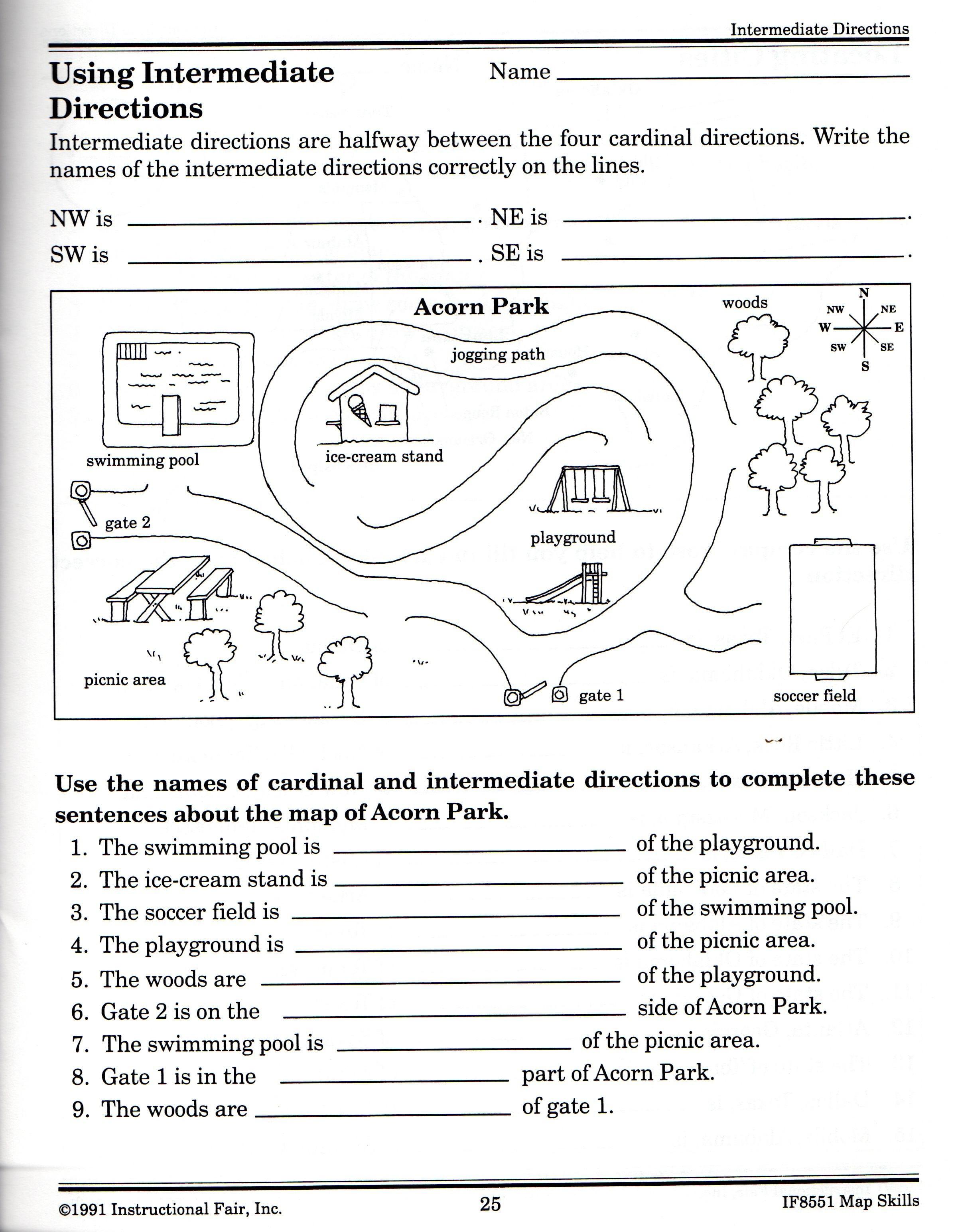 Cardinal Intermediate Directions Worksheet Elegant Intermediate