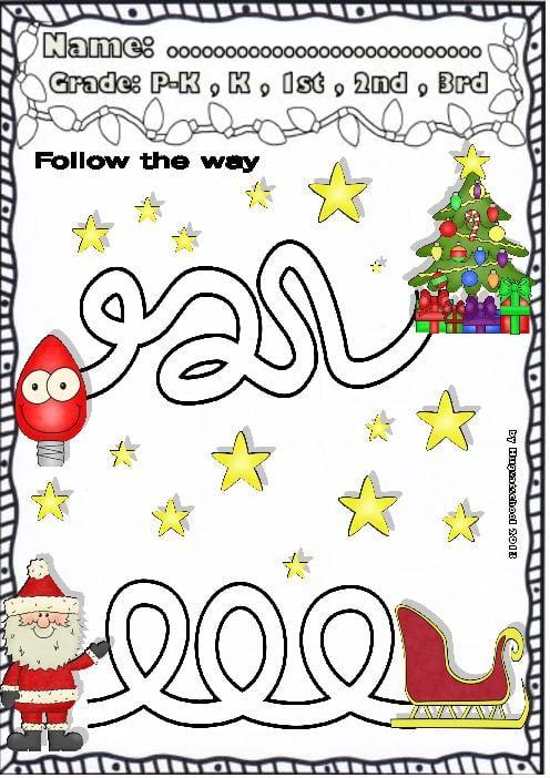 Christmas Math Worksheets Pre K 848414