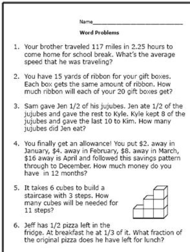 Collection Of 6th Grade Multi Step Math Word Problems Worksheets