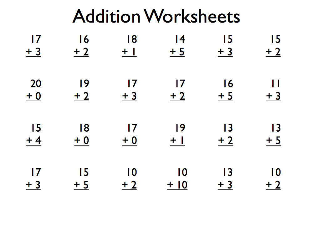 Collection Of Addition Worksheet For Grade 1 Pdf