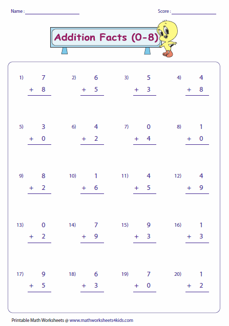 Collection Of Basic Number Facts Worksheets