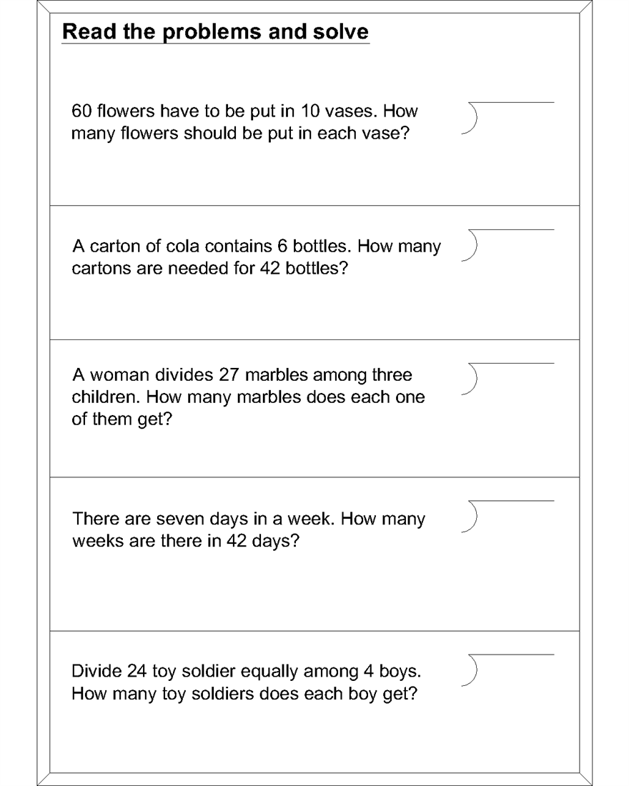 Collection Of Division Worksheets Grade 4 Word Problems