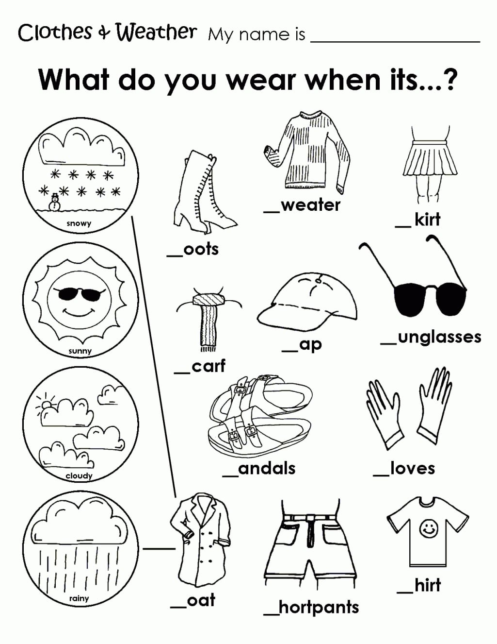Collection Of Esl Kindergarten Weather Worksheets