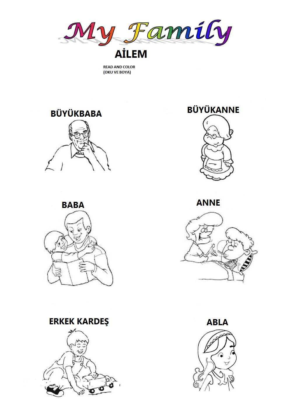 Collection Of Family Members Worksheets For Kindergarten Pdf