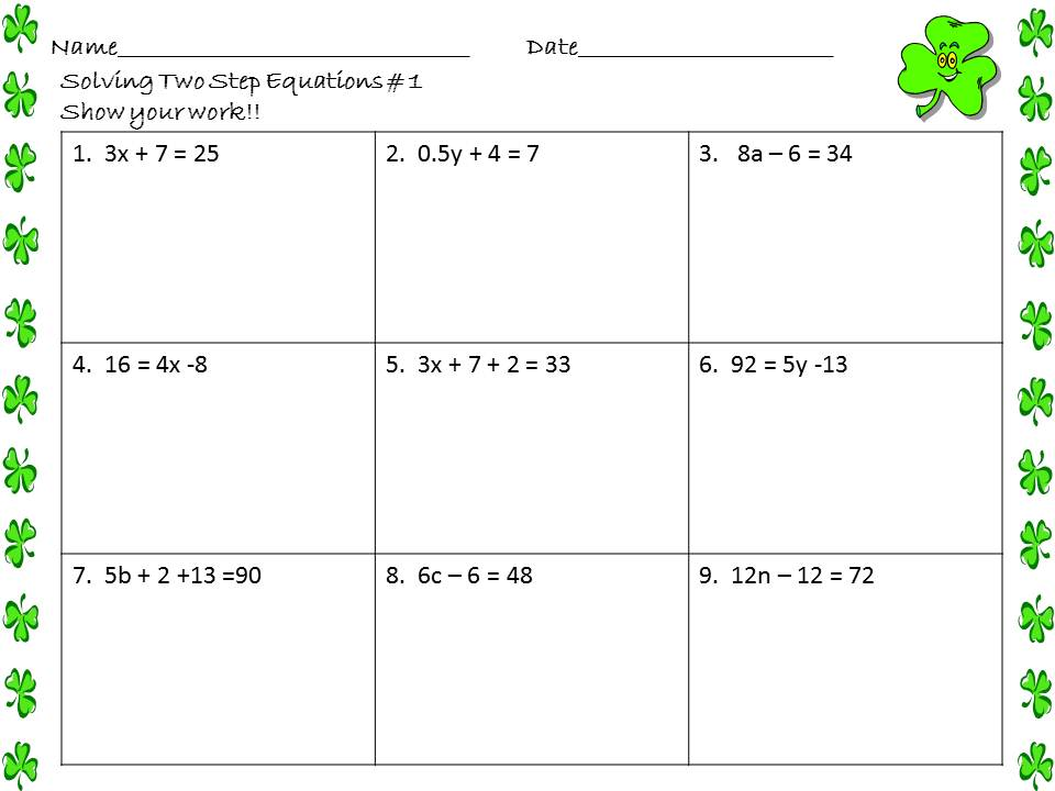 Collection Of Free Math Worksheets Two Step Equations