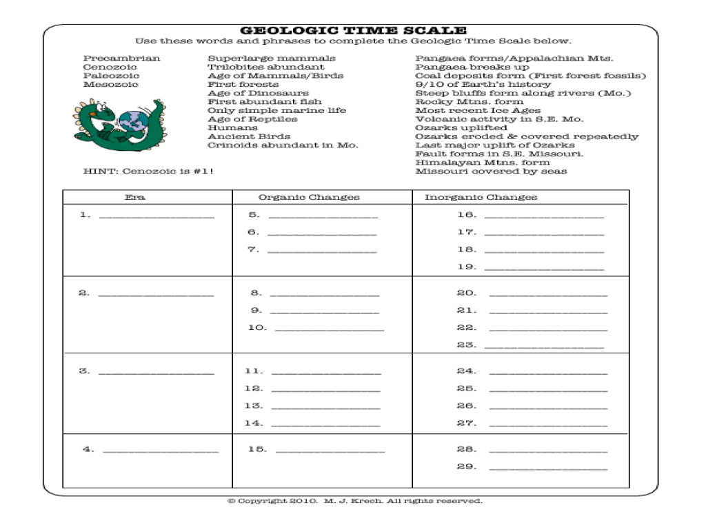 Collection Of Geologic Time Worksheet