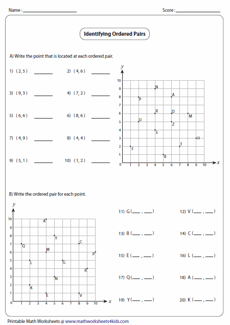 Collection Of Graphing Points Worksheet