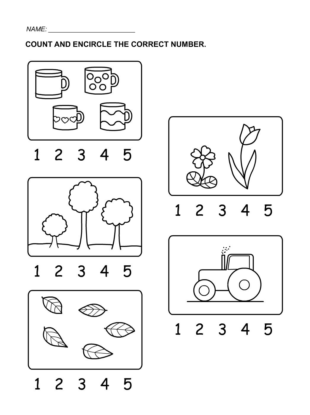 Collection Of Kindergarten Counting Worksheets 1 5