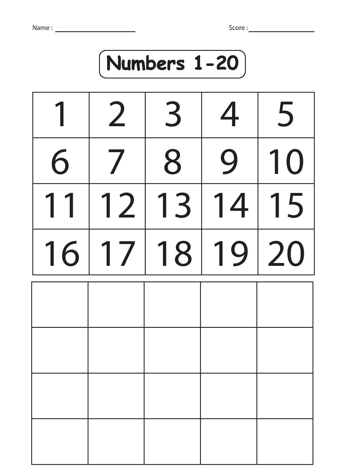 Collection Of Kindergarten Math Worksheets Numbers 1 20