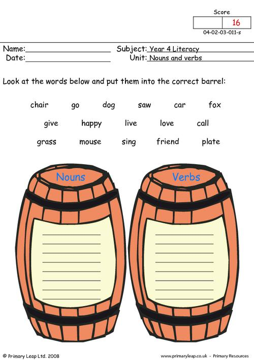 Collection Of Kindergarten Nouns And Verbs Worksheets