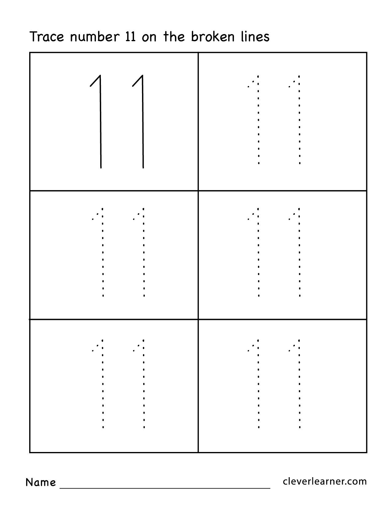Collection Of Kindergarten Number Tracing Worksheets 11 20