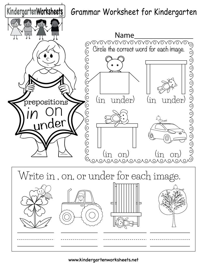 Collection Of Kindergarten Over Under Worksheets