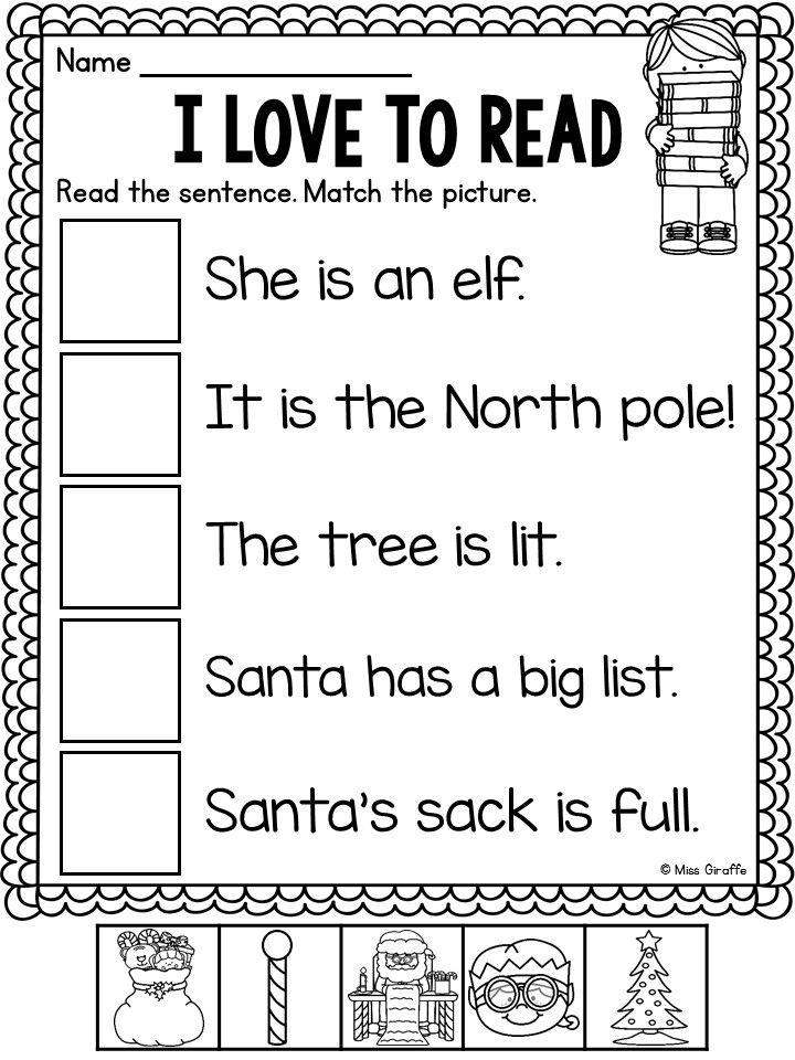 Collection Of Kindergarten Reading Christmas Worksheets