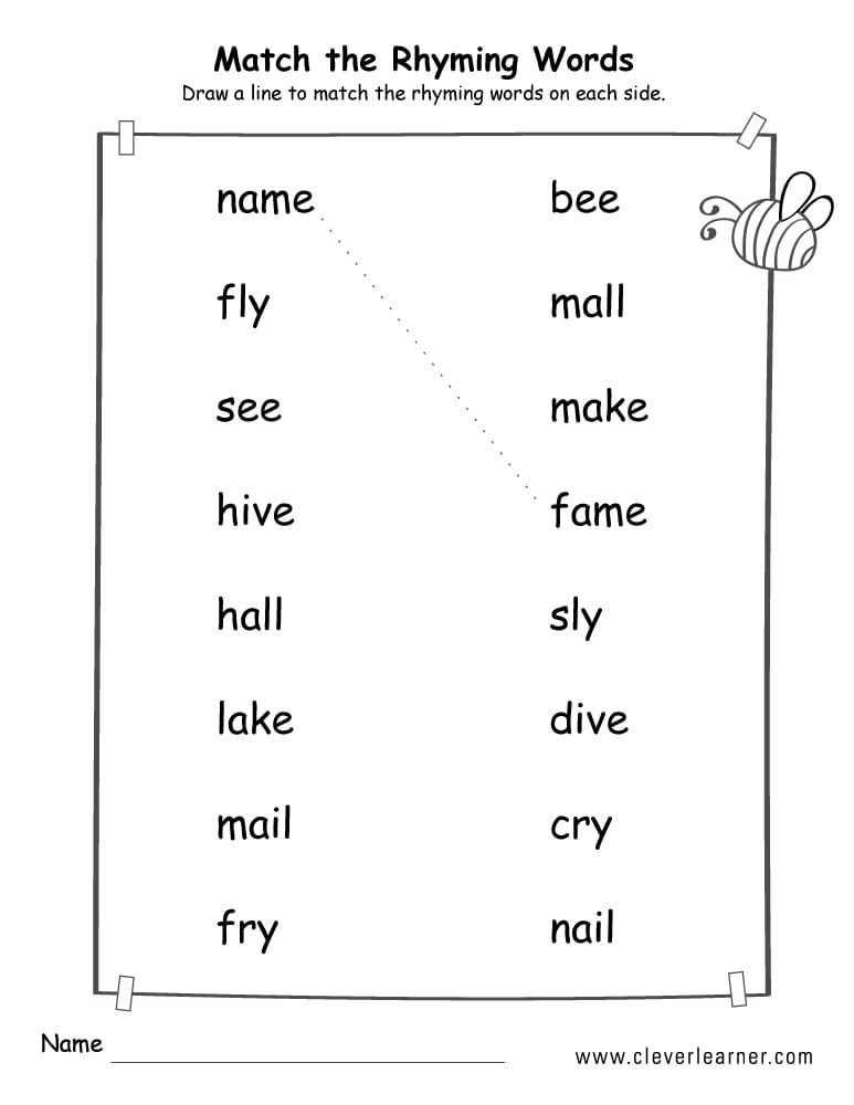 Collection Of Kindergarten Rhyming Word Worksheets Free ...