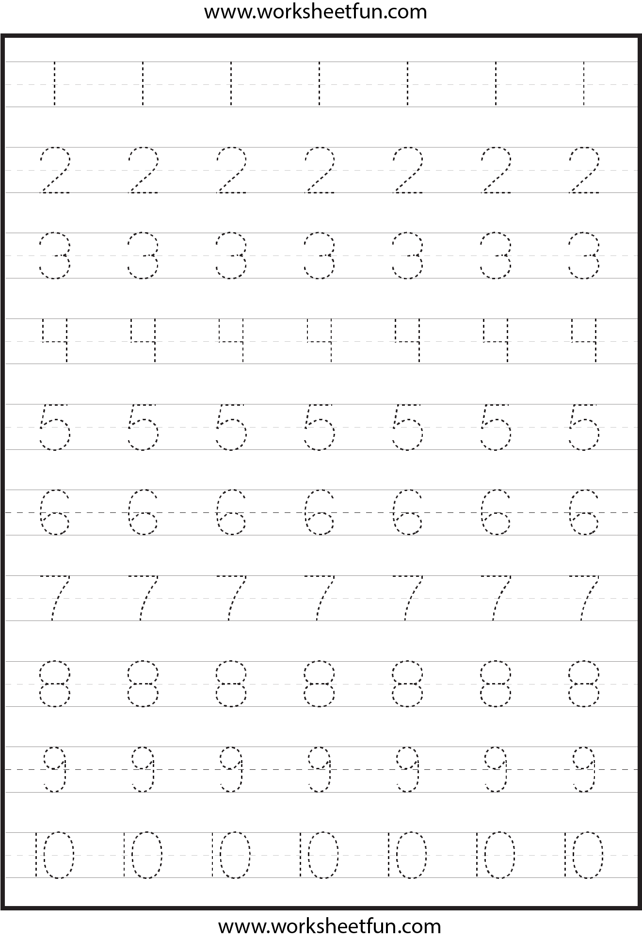 Collection Of Kindergarten Worksheets Number Tracing