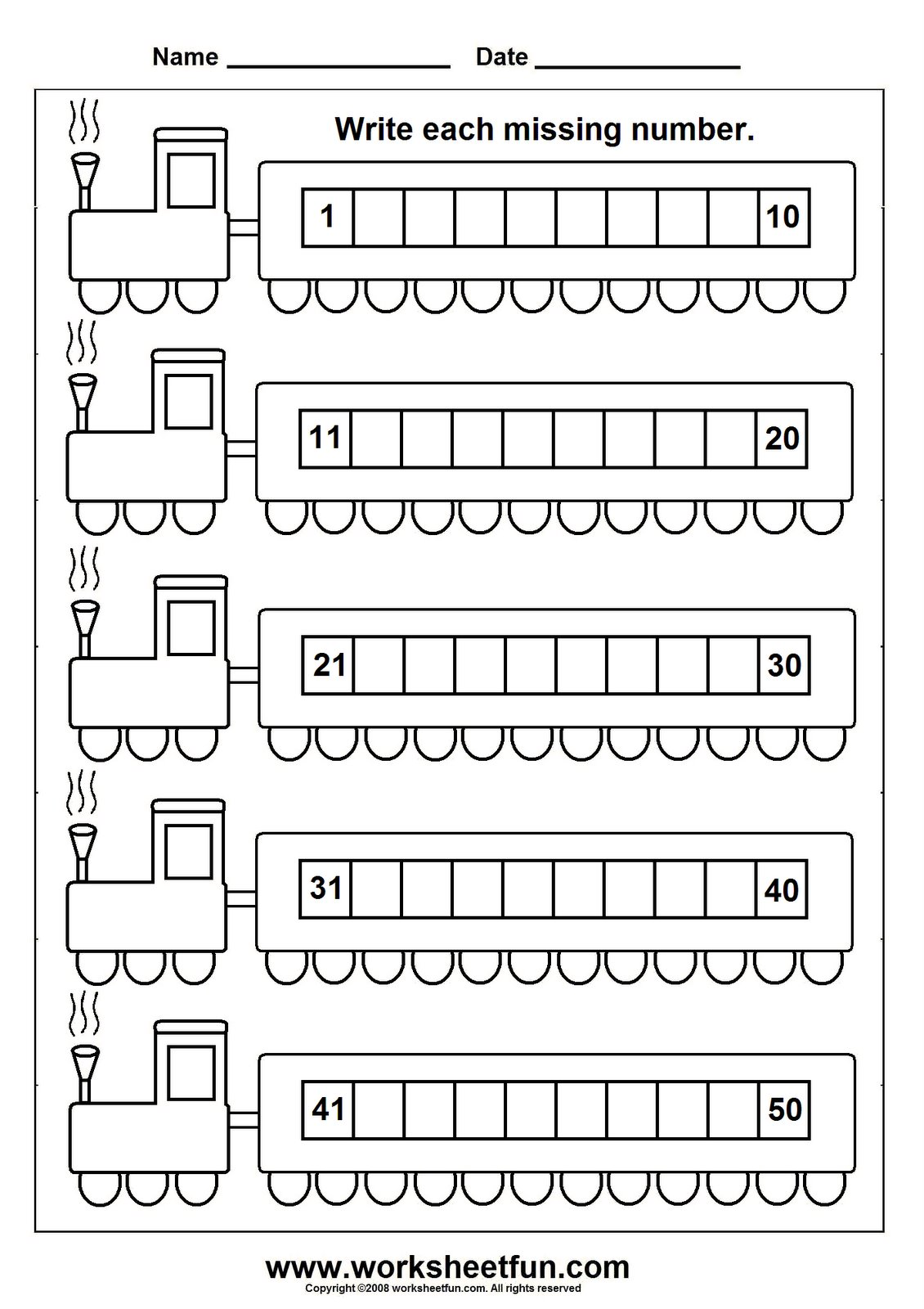 Collection Of Kindergarten Worksheets On Missing Numbers