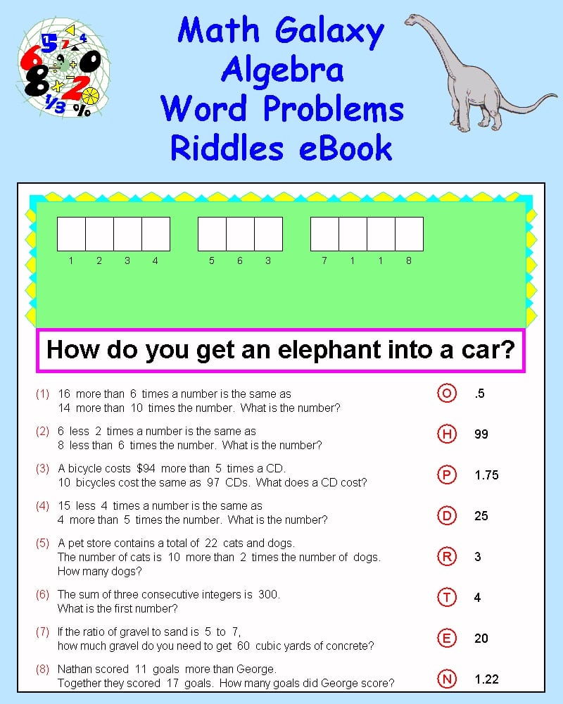 Collection Of Math Puzzles Algebra Worksheets