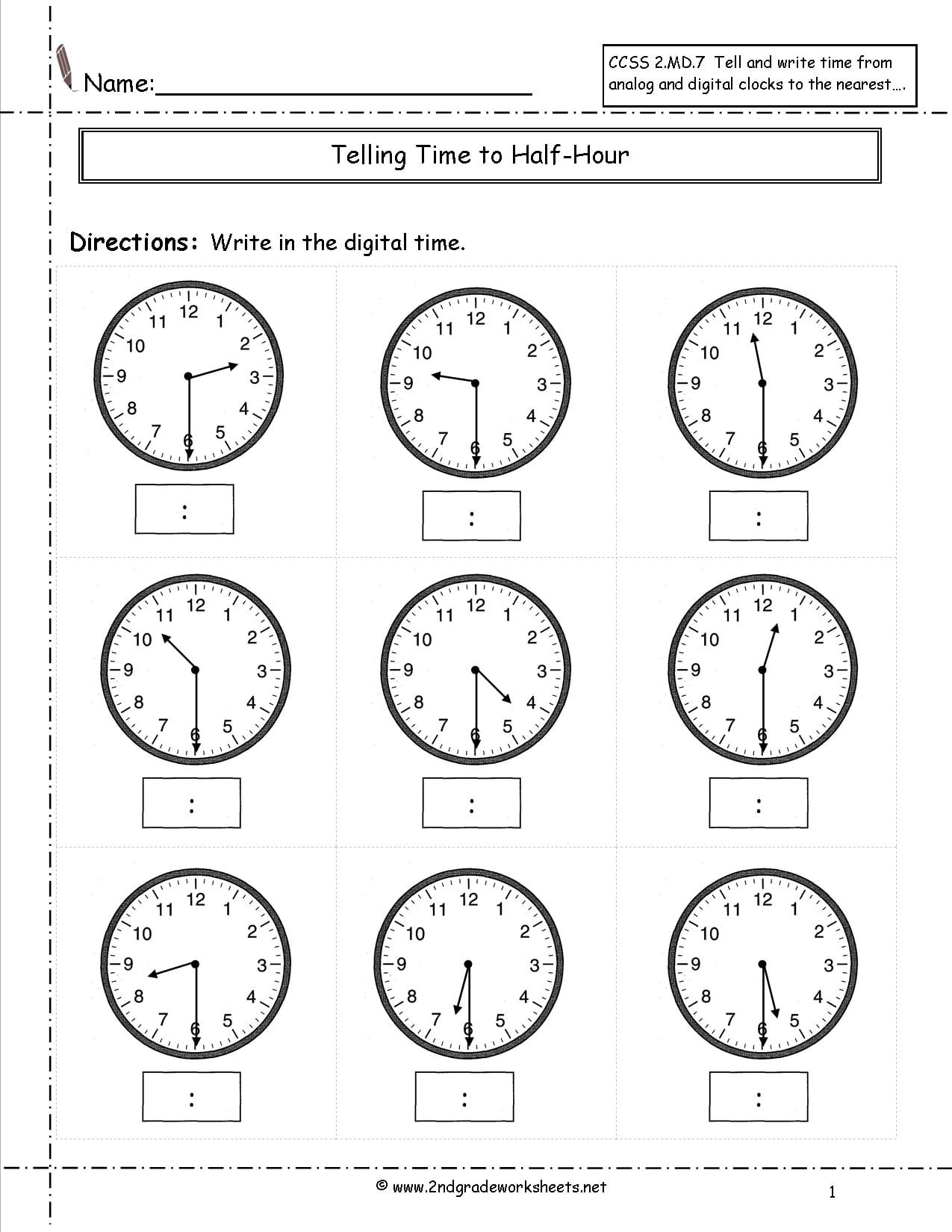 Collection Of Math Worksheets 2nd Grade Telling Time