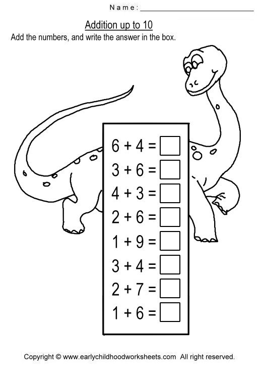 Collection Of Math Worksheets Addition Up To 10