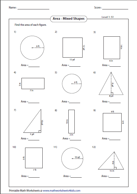 Collection Of Math Worksheets Circles Area