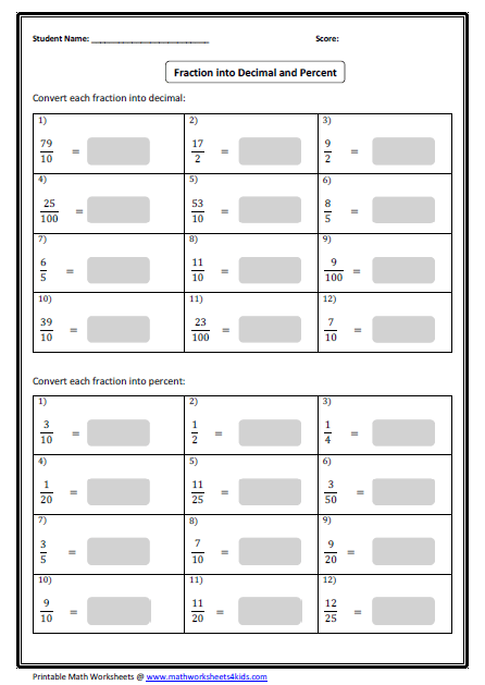 Collection Of Math Worksheets Percents Fractions Decimals