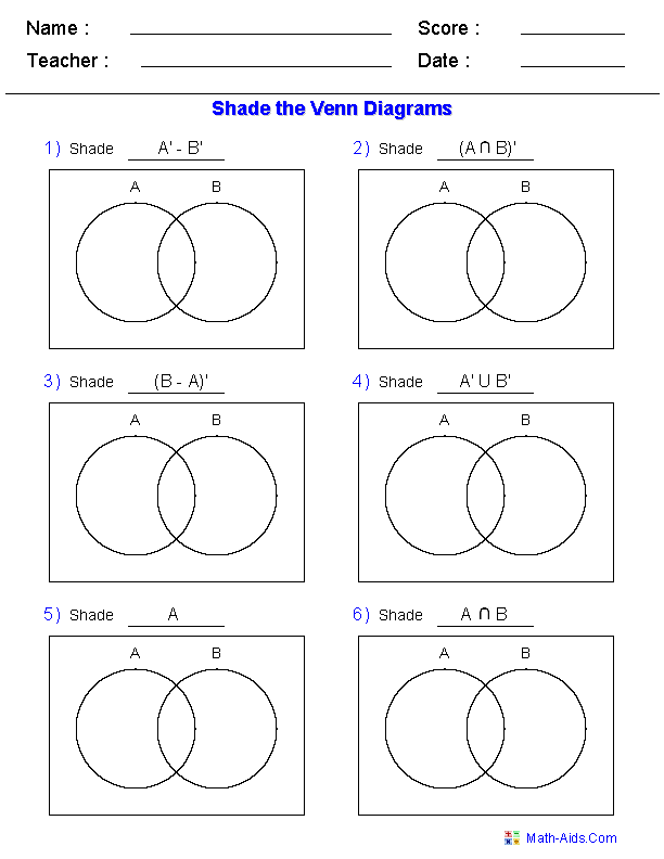 Collection Of Math Worksheets Using Venn Diagrams
