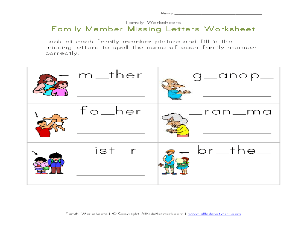 Collection Of Members Of The Family Worksheets For Kindergarten