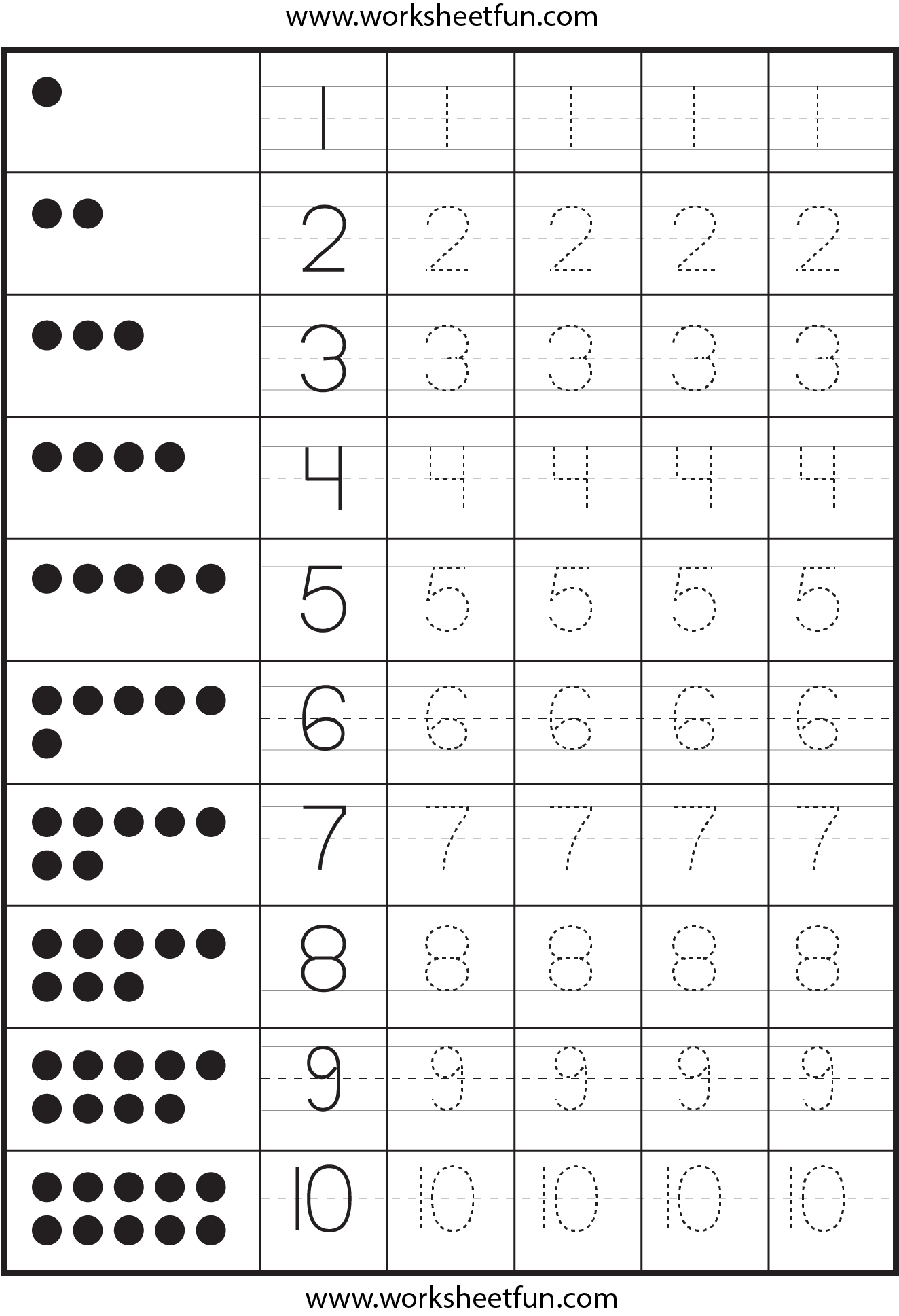 Collection Of Number Tracing Worksheets For Kindergarten
