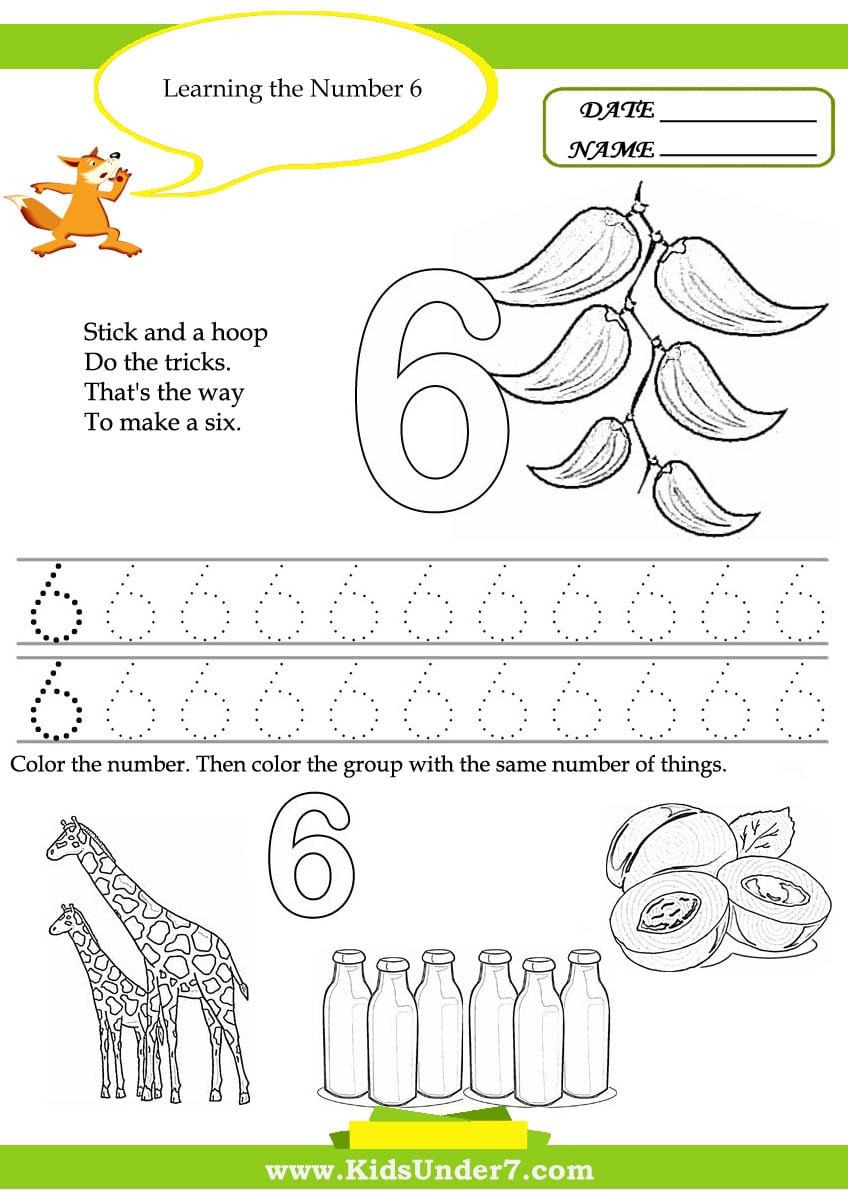Collection Of Preschool Worksheet For Number 6