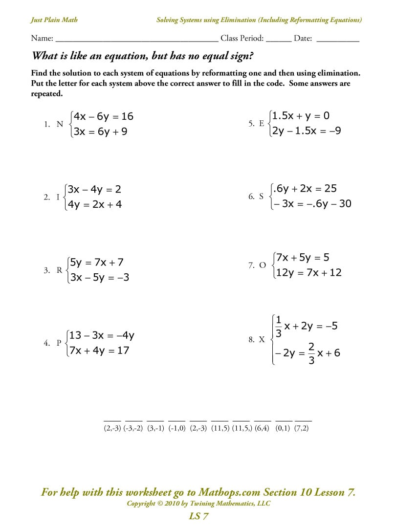 Collection Of Solving 3x3 Systems Of Linear Equations Worksheet