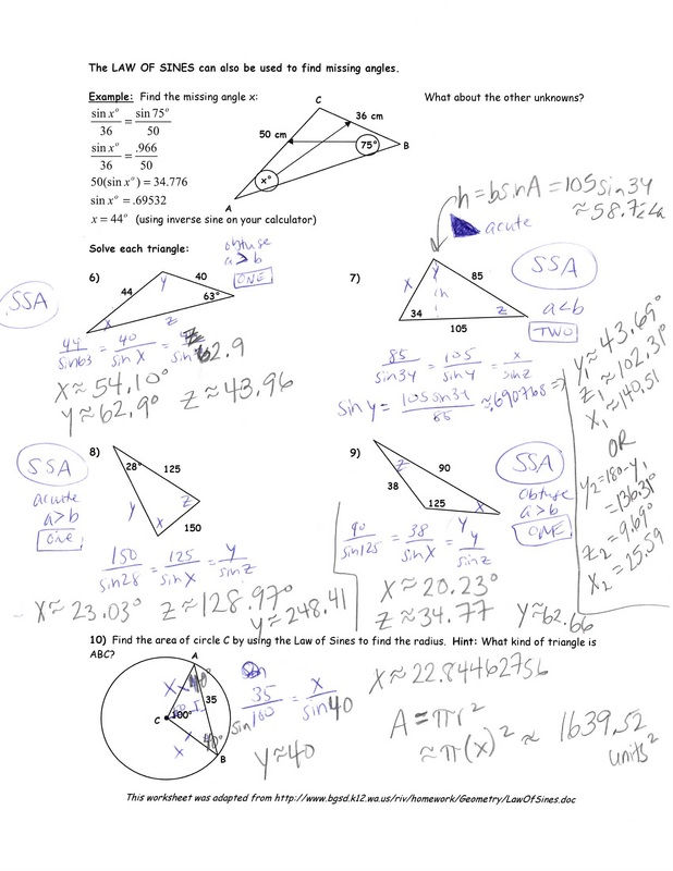 Collection Of Worksheet For Law Of Sines
