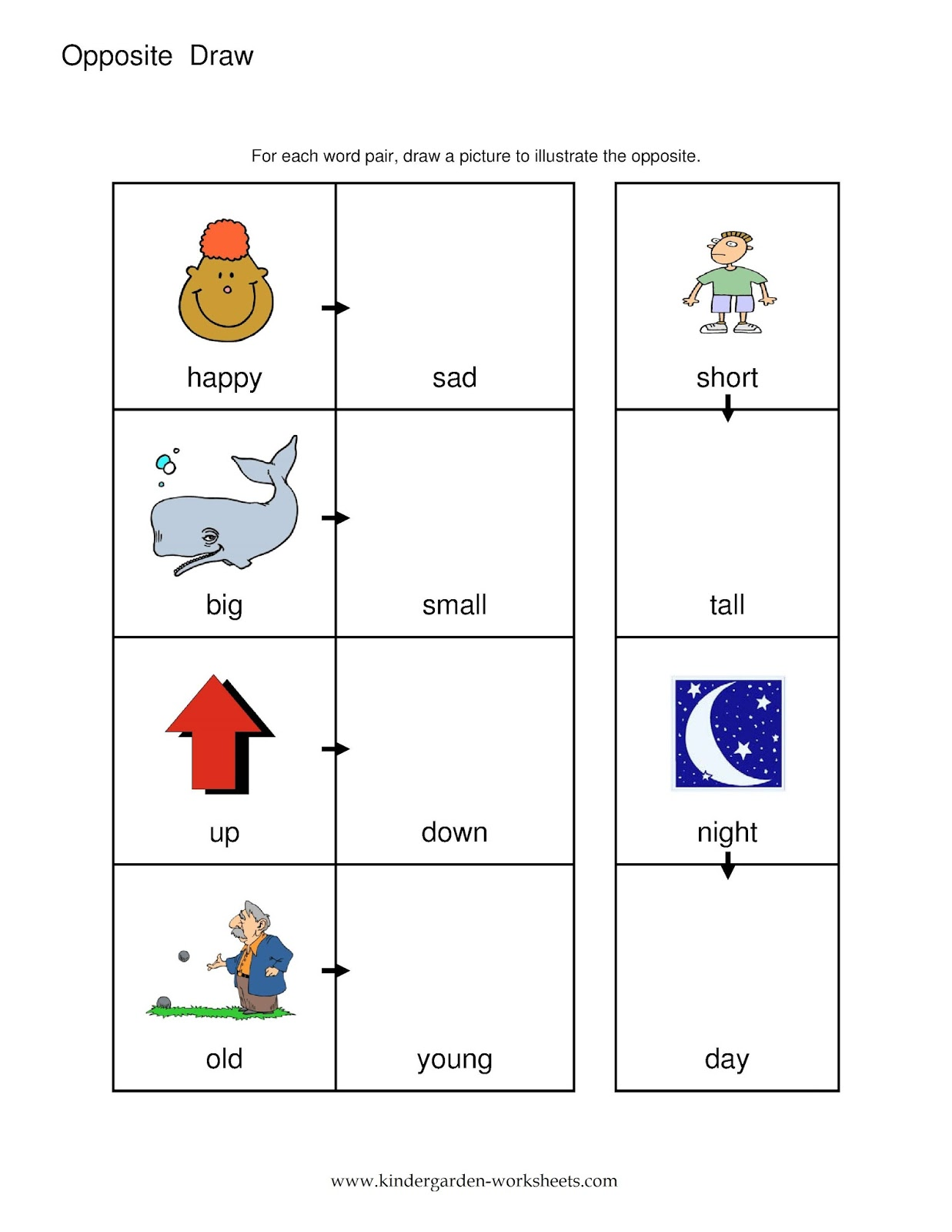 Collection Of Worksheets For Preschoolers Opposites