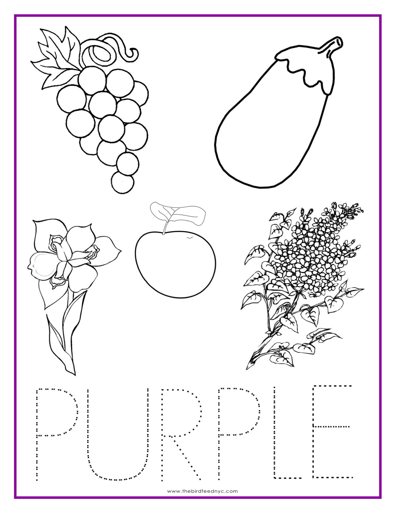 Color Purple Worksheets For Pre K 606168