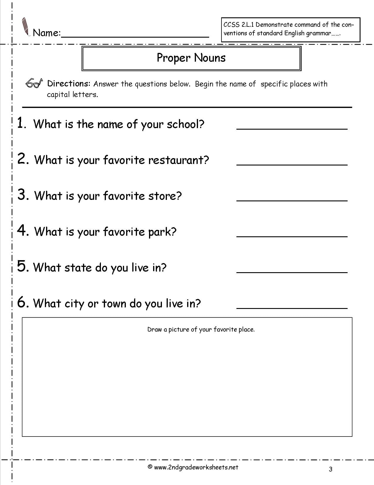 Common Proper Nouns Worksheet The Best Worksheets Image Collection