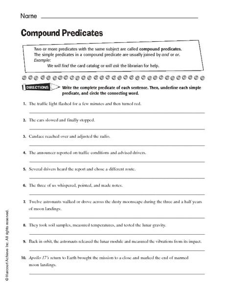 Compound Predicate Worksheets The Best Worksheets Image Collection