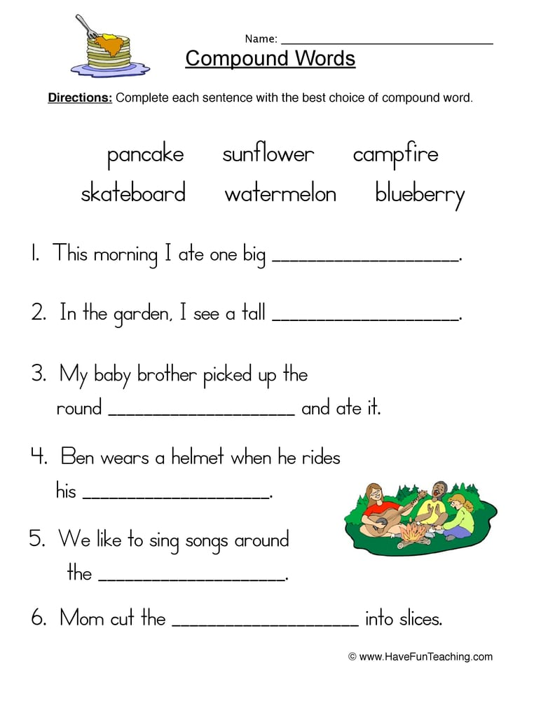 Compound Word Worksheets 4th Grade 1094575