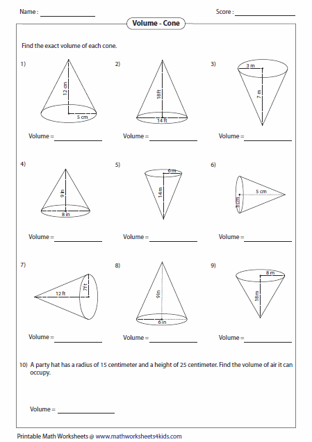 Cone Volume Worksheet The Best Worksheets Image Collection