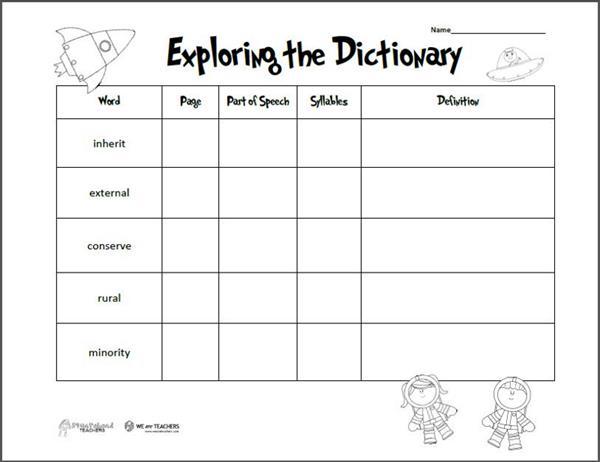 Dictionary Worksheet Year 3 575009