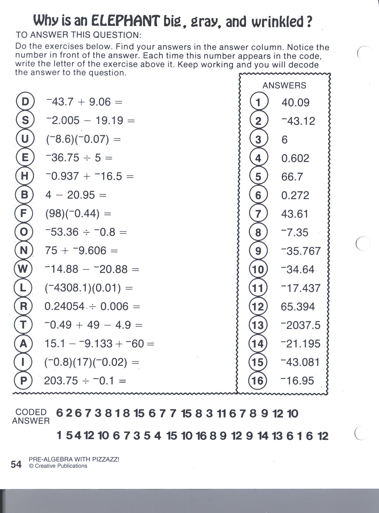 Double Cross Math Worksheet Pre Algebra With Pizzazz 600613