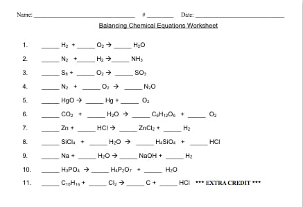 Easy Balancing Chemical Equations Worksheet 107783