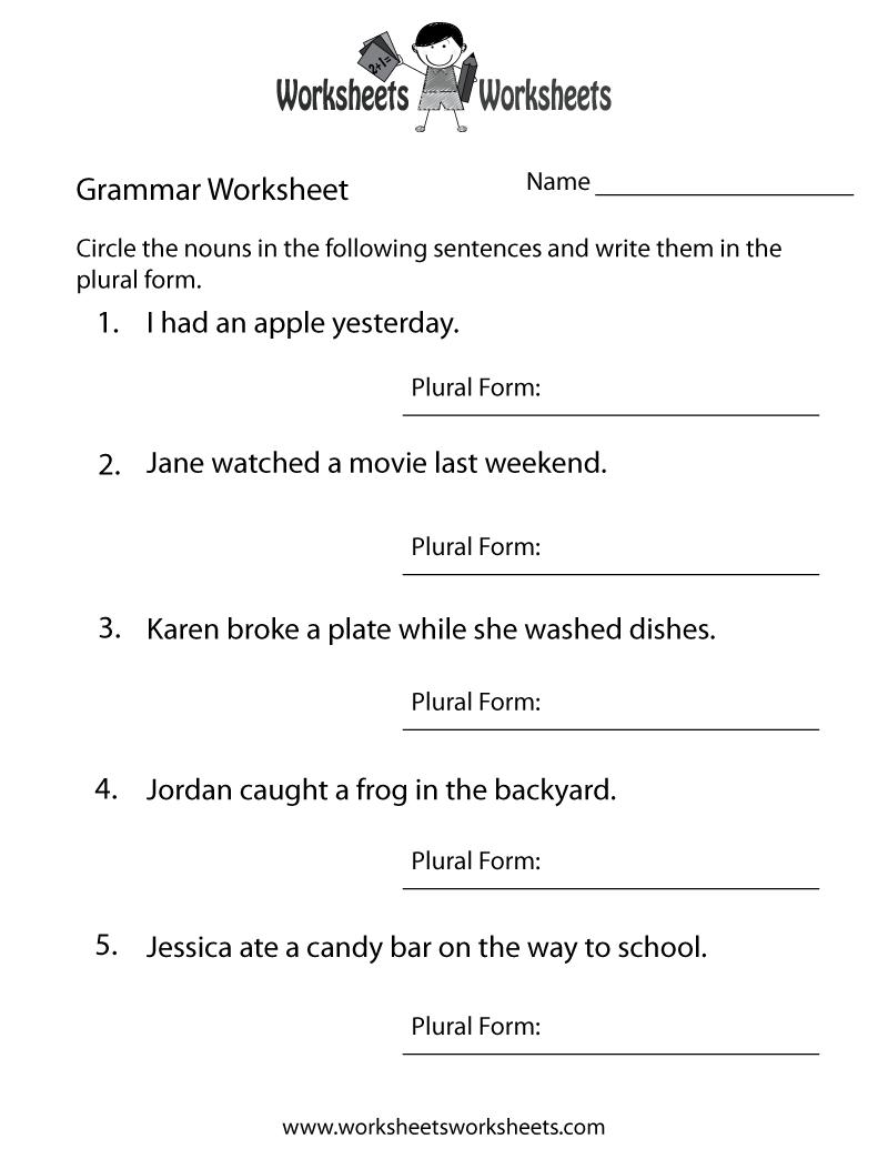 English Grammar Worksheet Printable