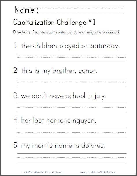 First Grade Sentence Writing Worksheet The Best Worksheets Image