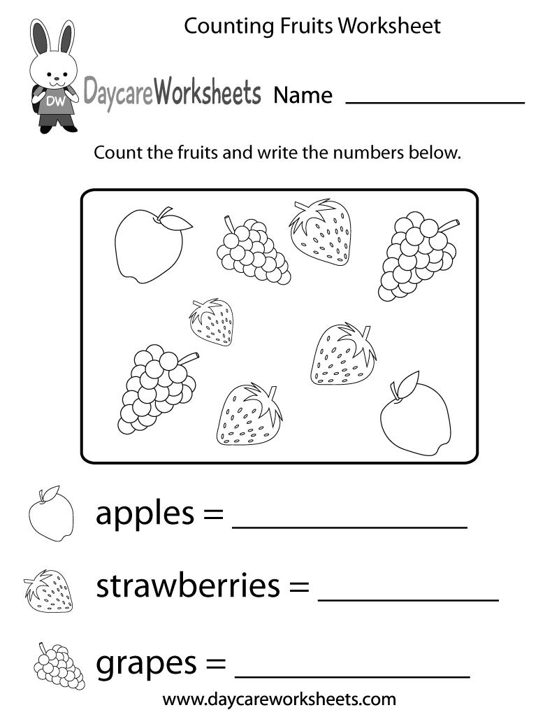 Free Counting Fruits Worksheet For Preschool Kindergarten Writing