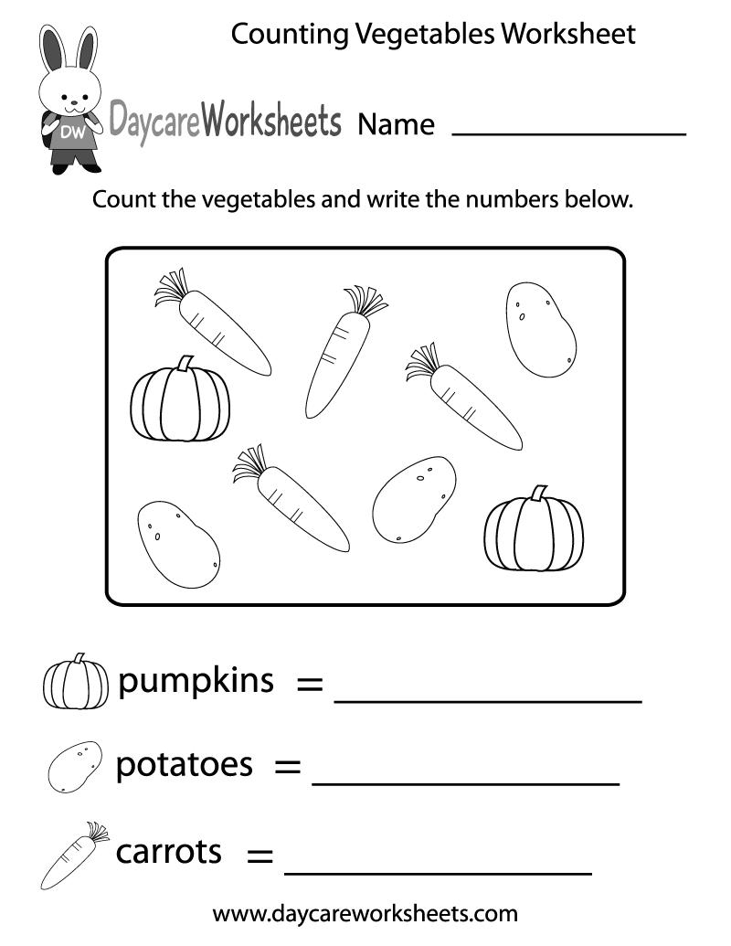 Free Counting Vegetables Worksheet For Preschool Worksheets