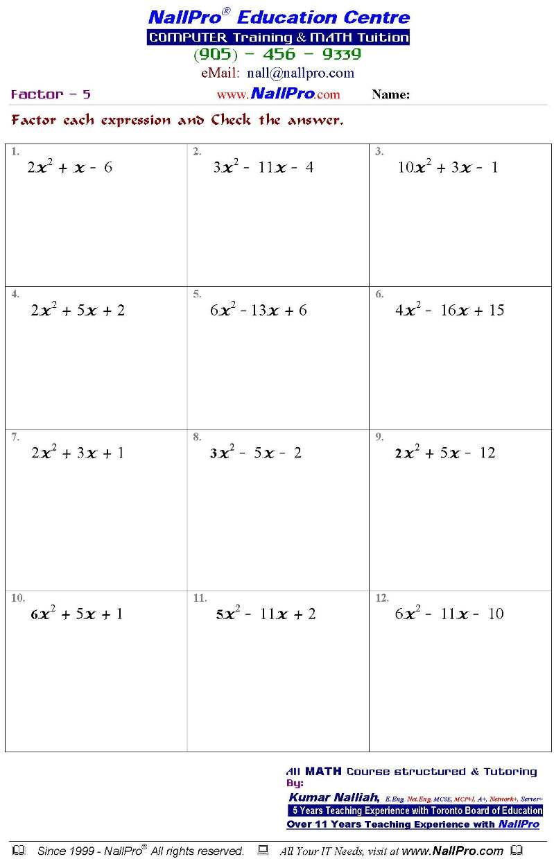 Tenth Grade Math Worksheets