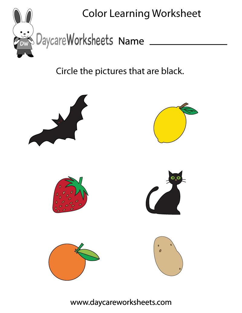 Free Preschool Color Learning Worksheet